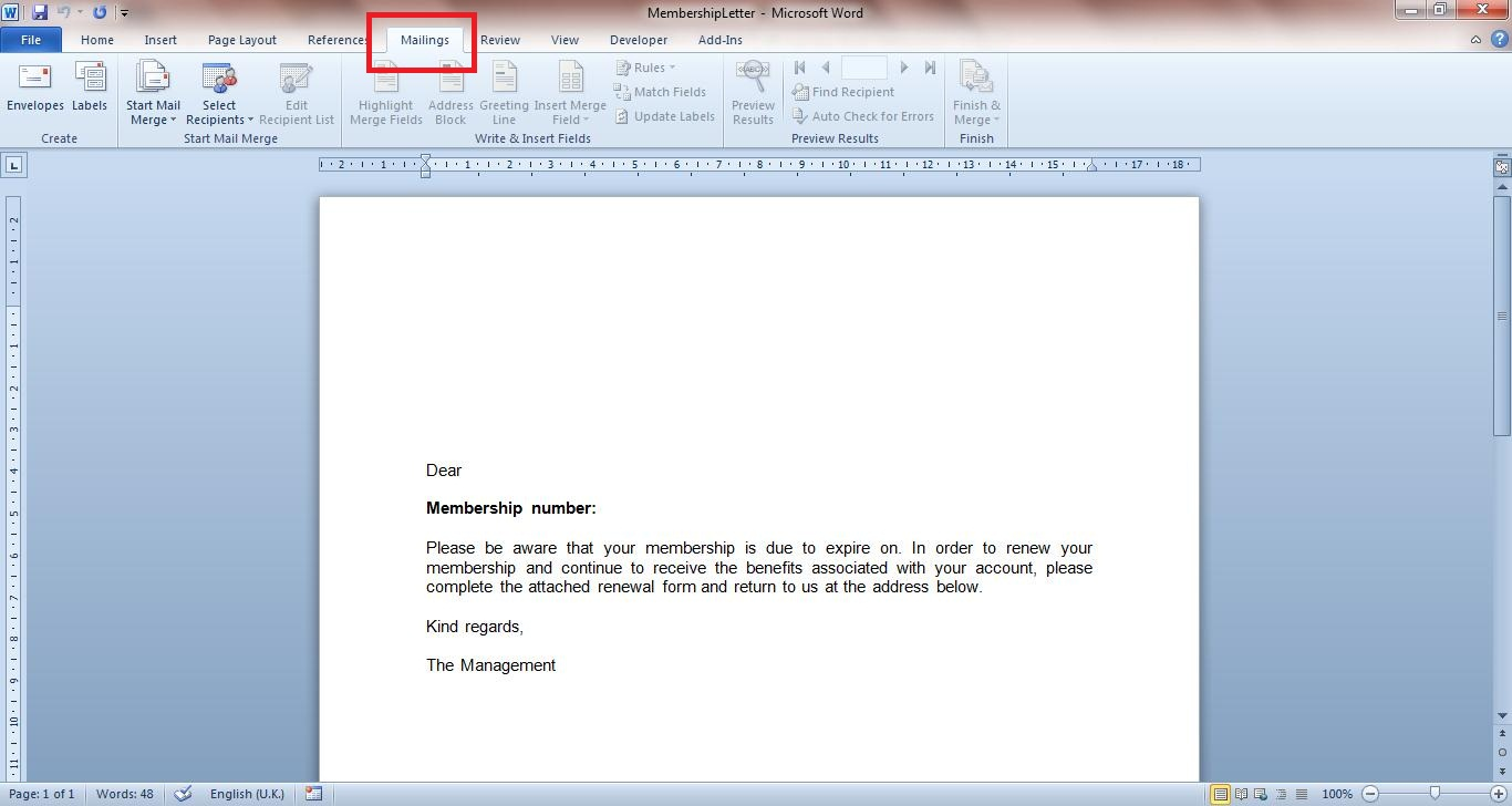Proper setup of a cover letter