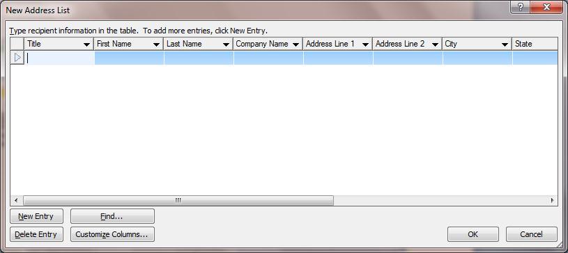 Microsoft Word Mail Merge List