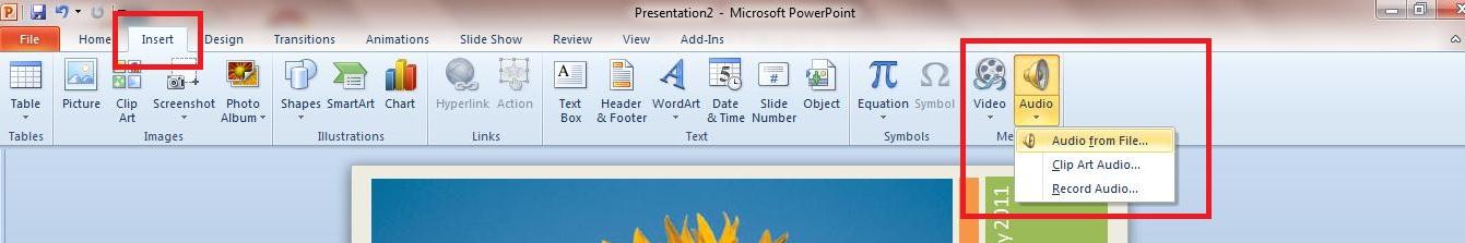 PowerPoint Add Audio