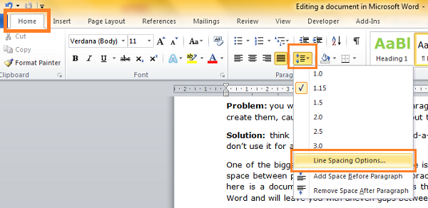how to change the space in between lines on word