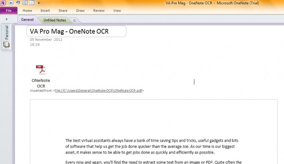 how to get pdf into one note