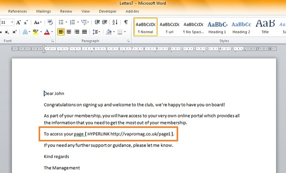 Mail Merge in Microsoft Word with Personalised Hyperlinks | VA Pro