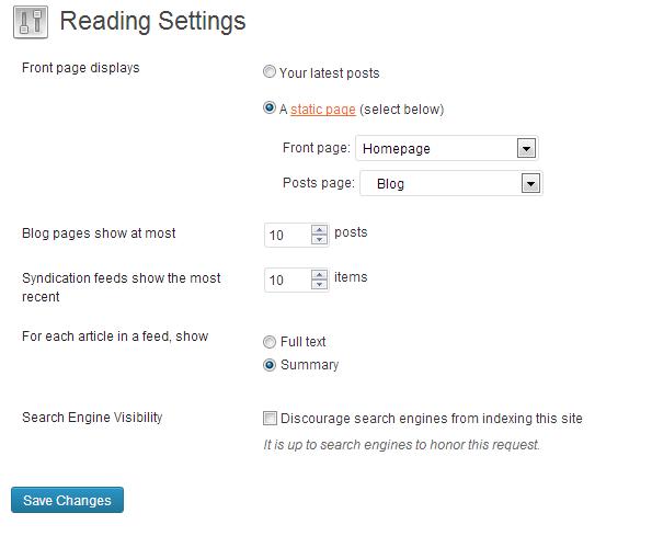 Wordpress Set Blog Page2
